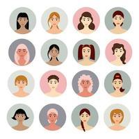Satz junge Mädchenfrisuren der Avatarfrauen schöne junge Mädchen mit verschiedenen Frisuren lokalisiert auf einem weißen Hintergrund vektor