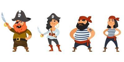 männliche und weibliche Piraten mit Händen am Gürtel vektor