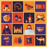 Ramadan Kareem Ikonen Satz Arabisch. flaches Design. vektor