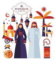 Ramadan Kareem Ikonen Satz Arabisch vektor