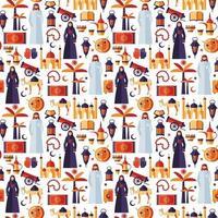Ramadan Kareem Ikonen Satz von arabischen flachen Design. vektor