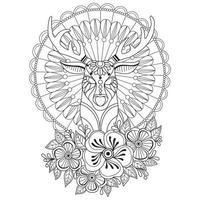Hirsch mit Blumenhand gezeichnete Skizze für Erwachsenen Malbuch vektor