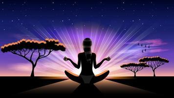 Yoga Frau Silhouette bei Sonnenaufgang vektor