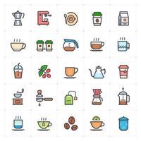 Kaffee- und Teelinie mit Farbsymbol vektor