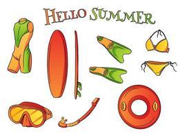 Sommer Küsten Freizeitartikel Wassersport Cartoon-Stil vektor
