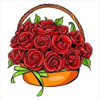 Blumenstrauß mit Rosen in einem Korb vektor