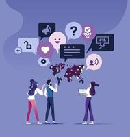 Kundenfeedback-Konzept Business-Team mit Feedback sprechen. Sprechblase vektor