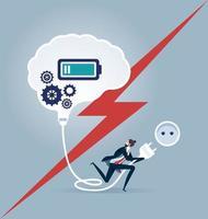 Verbindungsgeschäftsmann, der ein Gehirn einschaltet. Geschäftskonzept Vektor-Illustration vektor