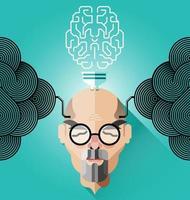 kreatives Denken, alter Geschäftsmann-Konzeptvektor vektor