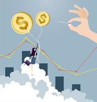 Geschäftsfrau fliegt auf Dollarzeichenballon mit Hand, die Nadel hält vektor