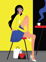 Mädchen mit gewellter Haar-und Glas-Vektor-Illustration vektor