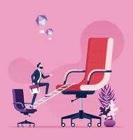 Geschäftsmann, der auf kleinem Stuhl steht, der zu großem Stuhl schaut vektor