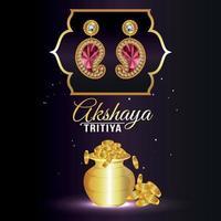 akshaya tritiya feier schmuck verkauf rabatt mit gold münztopf und goldohrringen vektor