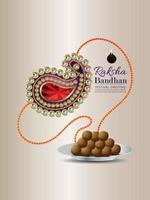 Raksha Bandhan Indian Festival Flyer mit kreativen Rakhi und Süßigkeiten vektor