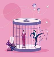 Geschäftsmann Durchbruch Geldfalle Konzept vektor