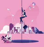 Geschäftsmann, der an einer Kettenflucht über einem großen Loch hängt. Geschäftsrisikokonzept vektor