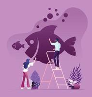 Geschäftsleute, die große Fische zeichnen, essen kleine Fische an der Wand vektor