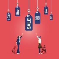 Preisanreiz Einzelhandel, Geschäftskonzept. Geschäftsleute mit einer Gruppe von Angelhaken mit Verkaufspreisschildern vektor