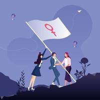 Frauenpower und Feminismus Konzept. Gruppe von Frauen, die zusammen stehen und die Flagge mit einem Venuszeichen schwenken vektor