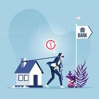 Hypothek Refinanzierungsdarlehen. Geschäftsmann schleppt Haus zur Bank vektor