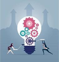 kreative Idee der Geschäftsleute. Erstellen von Ideen und Teamwork-Konzept-Gestaltungselement vektor