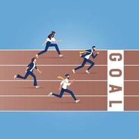 Geschäftsleute rennen die Strecke entlang. Geschäftswettbewerb Vektor-Illustration vektor