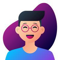 Jugendlicher Junge mit Gläsern Potrait vektor