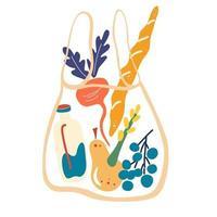 Saitentasche mit Essen. Vektor-Illustration Öko-Netz-Einkaufstasche mit Produkten. Konzept für Null Abfall, kunststofffrei. vektor