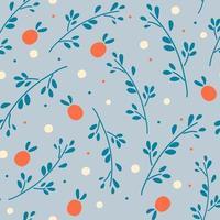nahtloses Muster mit Zweigen und Beeren. rote Beeren auf blauem Hintergrundmuster. vektor