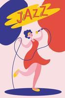 Plakat- oder Flyerschablone für Jazzmusikleistung mit Sängerin. junges schönes Mädchen singt ins Mikrofon. vektor