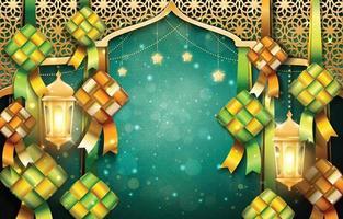 Eid Mubarak Hintergrund mit Ketupats und Laternen vektor