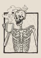 Skelett Linocut Drink Coffee vektor