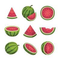 Satz Wassermelonenscheibe vektor