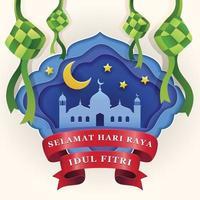 Feiern Sie Hari Raya Idul Fitri mit Ketupat vektor