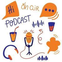 Satz verschiedener Podcasting-Elemente. Vektor flache Cartoon Illustration Podcast-Show.