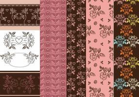 Vintage Heart och Flower Patterns & Vector Pack