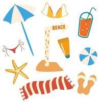 Set von Sommerartikeln und Strandobjekten. Strandzubehör, Regenschirm, Flip Flops, Handtuch, Badeanzug, Cocktail, Ball, Seestern, Schild Strand. vektor