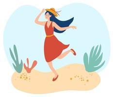 glückliche junge Frau, die auf dem Strand geht. Dame in einem Sommerkleid hält ihren Hut. glückliche lächelnde Frau geht im Freien auf sonnigem Sommerwetter. vektor