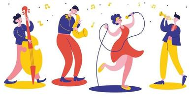 Musik-Jazz-Band. Jazzplakat. Vokalinstrumentalensemble. Vokalsänger, Saxophonist, Kontrabassist. vektor