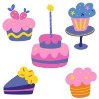 frohe Feiertagscremekuchenvektorsatz. leckere Geburtstagstorte. süßes Gebäck, Muffins, Cupcake-Feiertagskochikonen zum Dekorieren, Jubiläen, Hochzeiten, Geburtstage, Kinderfeste. vektor