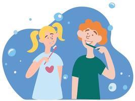 Kinder ein Junge und ein Mädchen putzen ihre Zähne. Morgenroutine, kümmert sich um die Zahngesundheit. Bruder und Schwester Zeichentrickfiguren. vektor