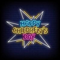 glückliche Kinder Tag Leuchtreklamen Stil Text Vektor