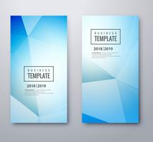 Abstrakt blå polygon banners uppsättning mall vektor