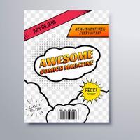 Ehrfürchtige Comicsbuchzeitschriftabdeckungs-Schablonenvektor vektor