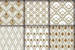 Set luxuriöses nahtloses Muster mit Art Deco vektor