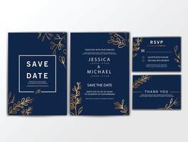 Hochzeitseinladungskarten mit Verzierung vektor