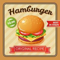 hamburgare platt affisch vektorillustration vektor