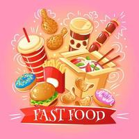 Fast-Food-Illustration Vektor-Illustration vektor