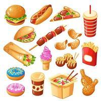 Fast-Food-Symbole setzen Vektorillustration vektor
