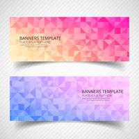 Abstrakt färgglada geometriska banners uppsättning mallhuvuddesign vektor